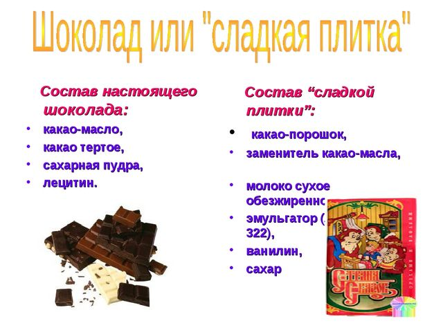 Состав настоящего шоколада: какао-масло, какао тертое, сахарная пудра, лецит...