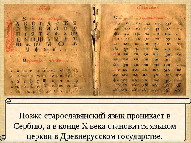 Позже старославянский язык проникает в Сербию, а в конце X века становится я...