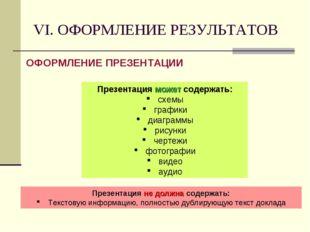 VI. ОФОРМЛЕНИЕ РЕЗУЛЬТАТОВ ОФОРМЛЕНИЕ ПРЕЗЕНТАЦИИ Презентация может содержать