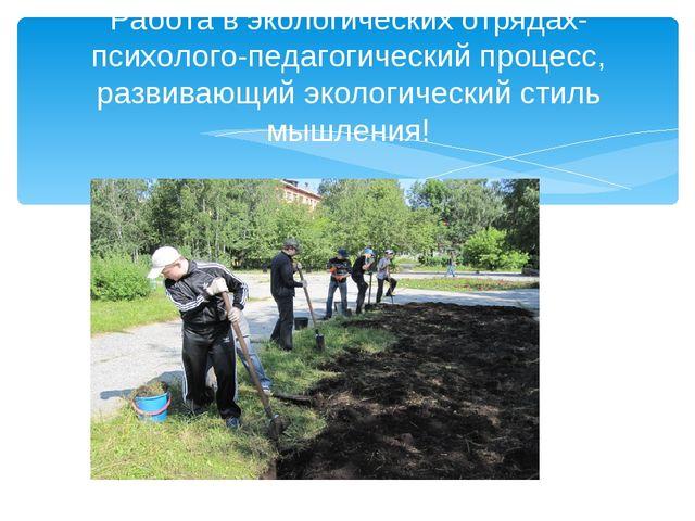 Работа в экологических отрядах-психолого-педагогический процесс, развивающий...