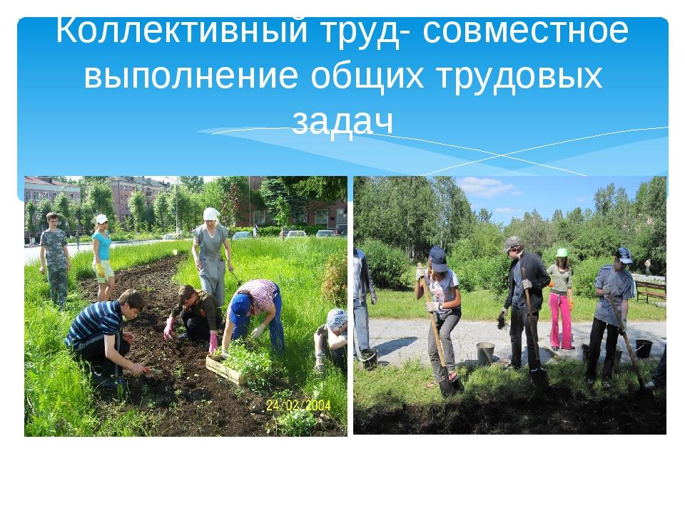 Коллективный труд- совместное выполнение общих трудовых задач