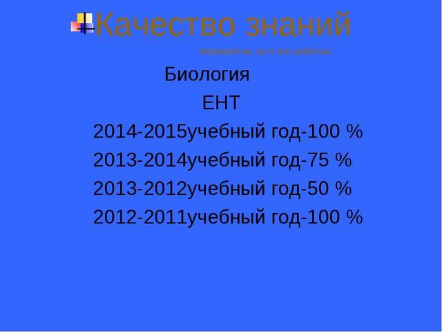 Качество знаний /показатель за 4 лет работы/ Биология ЕНТ 2014-2015учебный го...