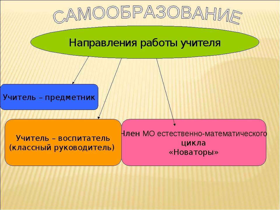 Направления работы учителя Учитель – предметник Член МО естественно-математич...