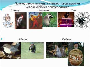 Почему звери и птицы называют свои занятия человеческими профессиями? Доктор