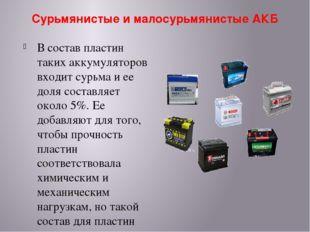 Сурьмянистые и малосурьмянистые АКБ В состав пластин таких аккумуляторов вход