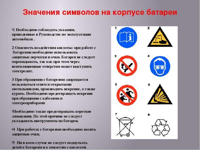 Значения символов на корпусе батареи 1 Необходимо соблюдать указания, приведе...