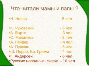 Что читали мамы и папы ? Н. Носов - 5 чел К. Чуковский - 5 чел А. Барто - 3 ч