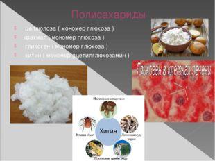 Полисахариды целлюлоза ( мономер глюкоза ) крахмал ( мономер глюкоза ) гли