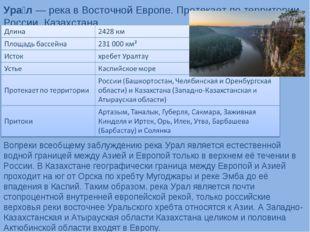 Ура́л— река в Восточной Европе. Протекает по территории России, Казахстана.