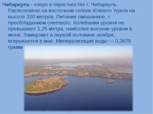 Чебаркуль - озеро в окрестностях г. Чебаркуль. Расположено на восточном склон