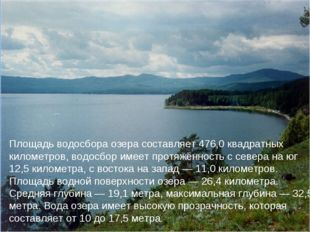 Площадь водосбора озера составляет 476,0 квадратных километров, водосбор имее