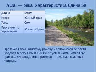 Аша́— река, Характеристика Длина 59 км Протекает по Ашинскому району Челябин