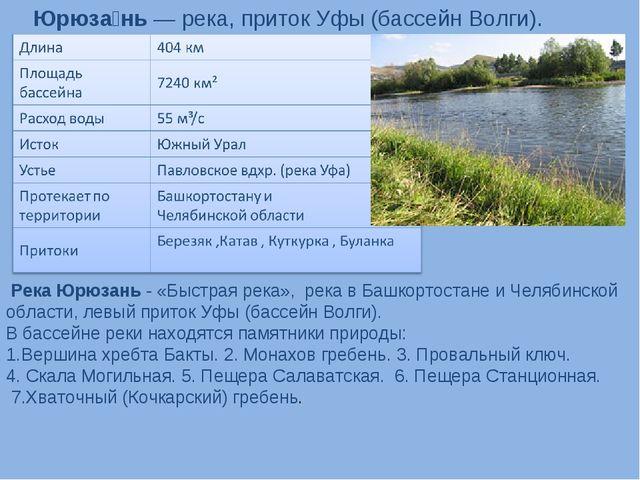 Юрюза́нь— река, приток Уфы (бассейн Волги). Река Юрюзань-«Быстрая река»,...