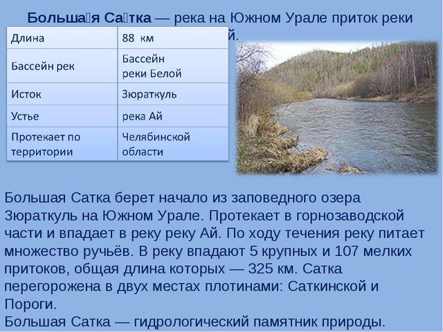 Больша́я Са́тка— река на Южном Урале приток реки Ай. Большая Сатка берет нач...