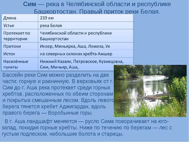 Сим— река в Челябинской области и республике Башкортостан. Правый приток рек...