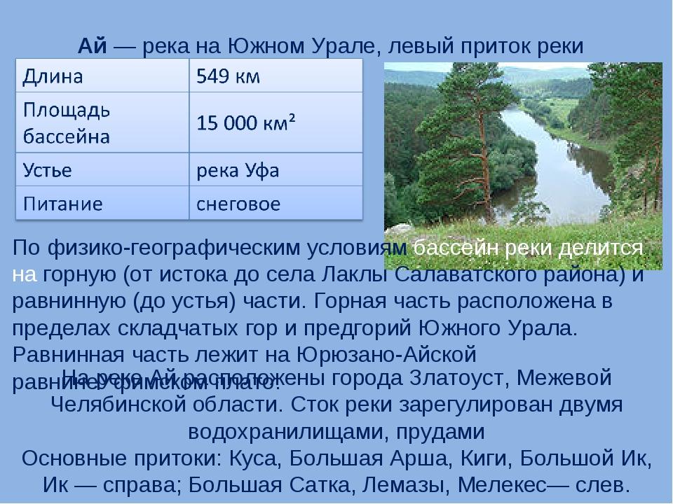 Ай— река на Южном Урале, левый приток реки Уфа. По физико-географическим ус...