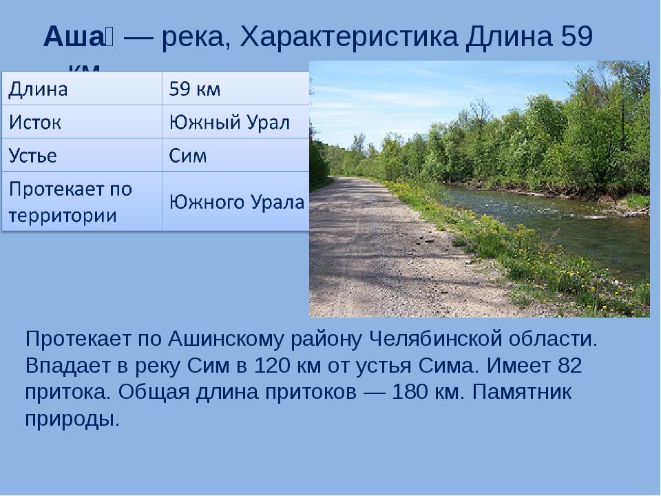 Аша́— река, Характеристика Длина 59 км Протекает по Ашинскому району Челябин...