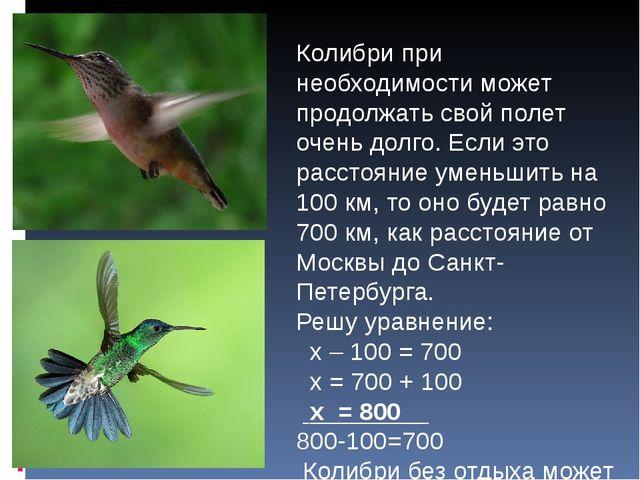 Колибри при необходимости может продолжать свой полет очень долго. Если это р...
