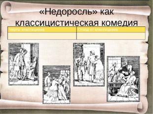 «Недоросль» как классицистическая комедия Черты классицизма Отход от классици