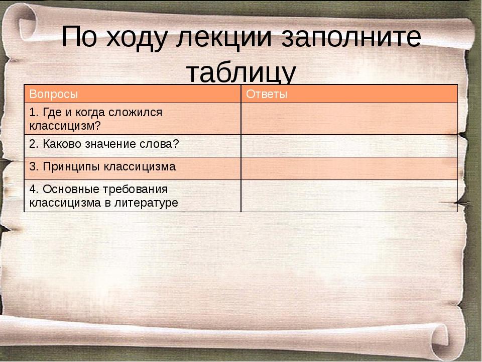 По ходу лекции заполните таблицу Вопросы Ответы 1. Где и когда сложился класс...