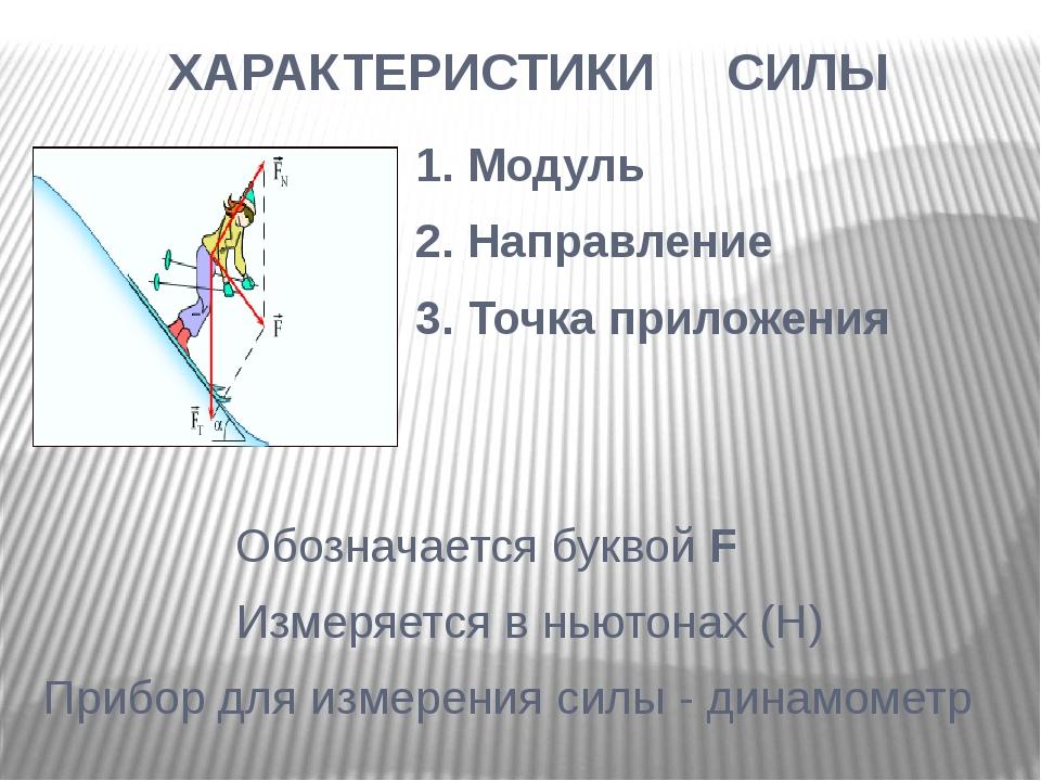 ХАРАКТЕРИСТИКИ СИЛЫ 1. Модуль 2. Направление 3. Точка приложения Обозначается...