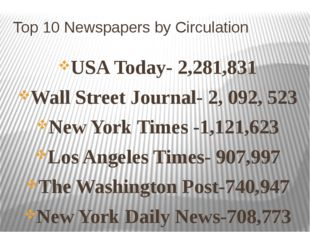 Top 10 Newspapers by Circulation USA Today- 2,281,831 Wall Street Journal- 2,