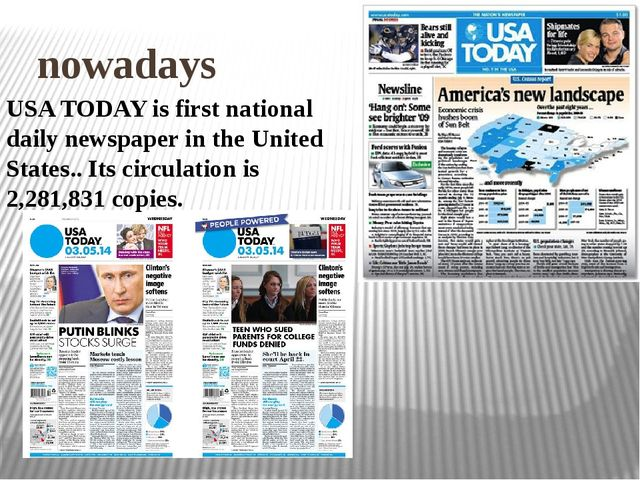 nowadays USA TODAY is first national daily newspaper in the United States.....