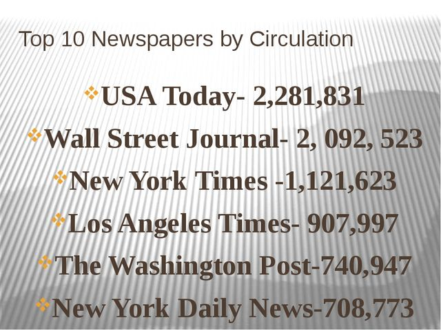 Top 10 Newspapers by Circulation USA Today- 2,281,831 Wall Street Journal- 2,...