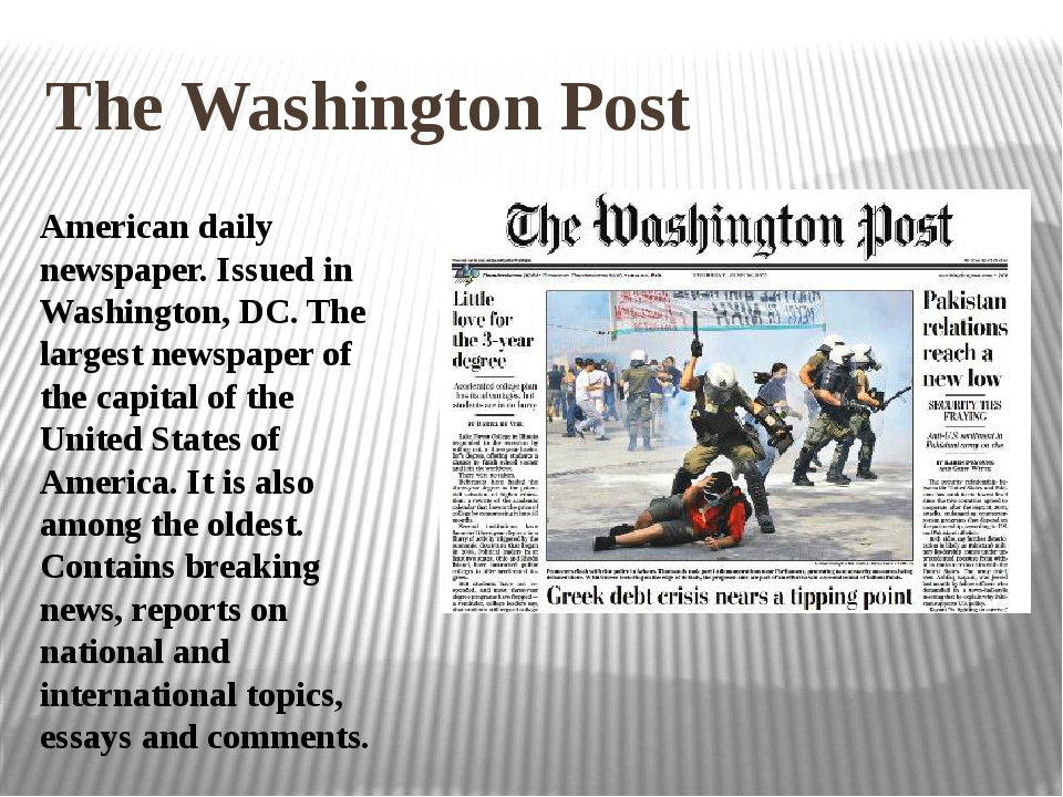 The Washington Post American daily newspaper. Issued in Washington, DC. The l...