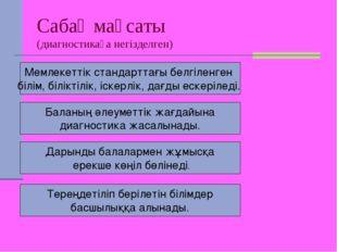 Сабақ мақсаты (диагностикаға негізделген) Мемлекеттік стандарттағы белгіленге