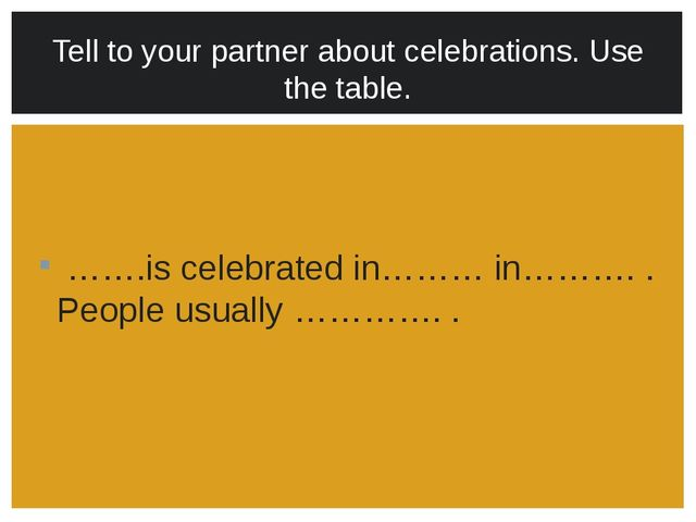 …….is celebrated in……… in………. . People usually …………. . Tell to your partner...