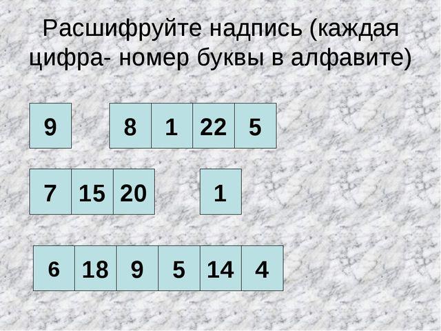 Расшифруйте надпись (каждая цифра- номер буквы в алфавите) 9 7 15 20 5 6 18 9...