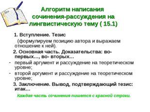 Алгоритм написания сочинения-рассуждения на лингвистическую тему ( 15.1) 1. В
