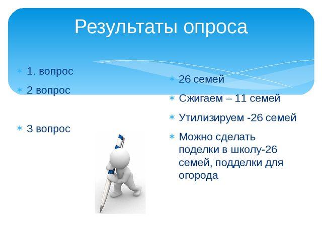 Результаты опроса 1. вопрос 2 вопрос 3 вопрос 26 семей Сжигаем – 11 семей Ути...