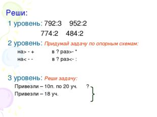 Реши: 1 уровень: 792:3 952:2 774:2 484:2 2 уровень: Придумай задачу по опорны