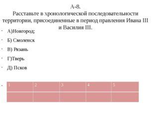 А-8. Расставьте в хронологической последовательности территории, присоединенн