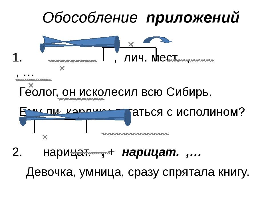Обособление приложений 1. , лич. мест. , , … Геолог, он исколесил всю Сибирь....