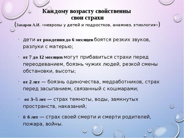 Каждому возрасту свойственны свои страхи (Захаров А.И. «неврозы у детей и под...