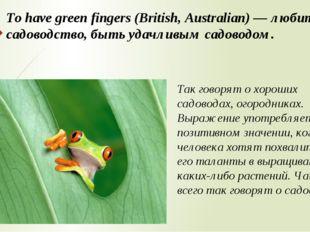 To have green fingers (British, Australian) — любить садоводство, быть удачли