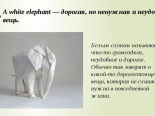 A white elephant — дорогая, но ненужная и неудобная вещь. Белым слоном называ