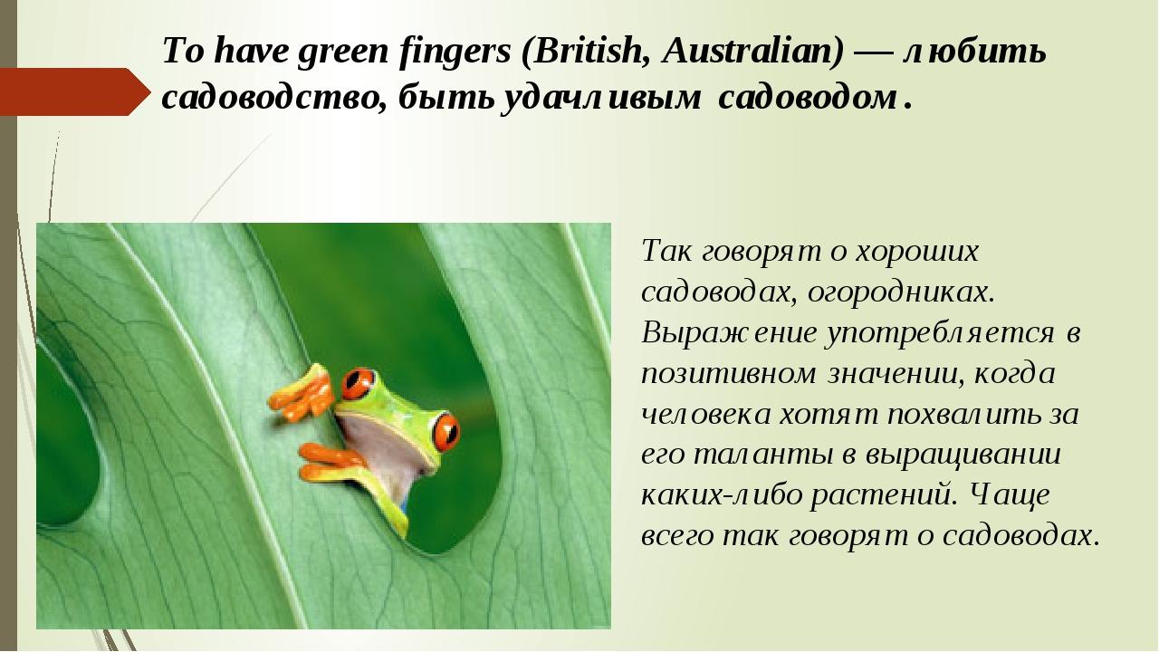 To have green fingers (British, Australian) — любить садоводство, быть удачли...