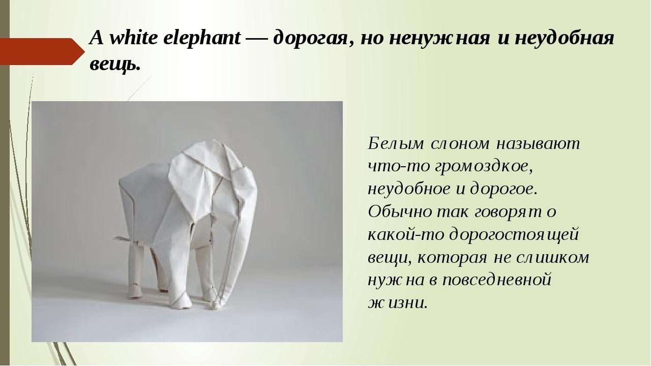 A white elephant — дорогая, но ненужная и неудобная вещь. Белым слоном называ...