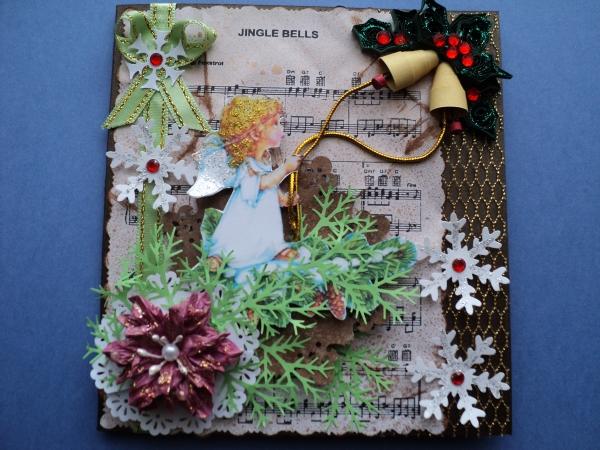 Рождественская открытка с ангелами своими руками