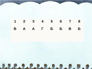 Ответы: 1 2 3 4 5 6 7 8 В  А А Г Б Б В Б