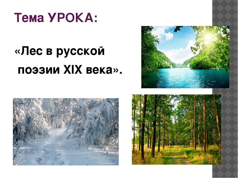 Тема УРОКА: «Лес в русской поэзии XIX века».