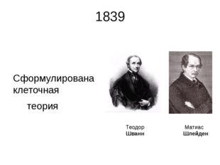 1839 Сформулирована клеточная теория Матиас Шлейден Теодор Шванн Несмотря на