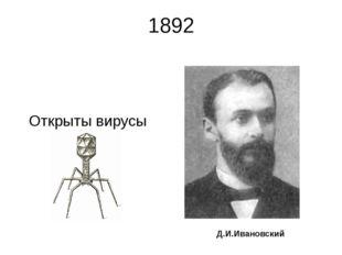 1892 Открыты вирусы Д.И.Ивановский Ивановский Дмитрий Иосифович (28.10.1864,