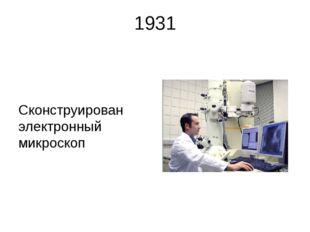 1931 Сконструирован электронный микроскоп В 1931 году Р. Руденберг получил па