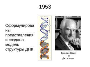 1953 Сформулированы представления и создана модель структуры ДНК Фрэнсис Крик