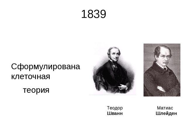 1839 Сформулирована клеточная теория Матиас Шлейден Теодор Шванн Несмотря на...